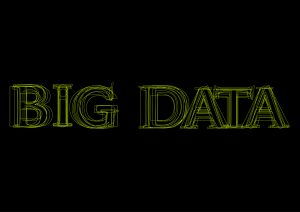 Vector word big data, green light on black background